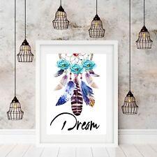 Wall Art Print, Poster, Feathers, Nursery Decor Bohemian Home Decor Unframed
