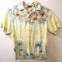 Thums Up Mens Large Hawaiian Shirt Yellow Hibiscus Button Front Short Sleeve