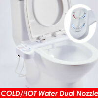 Adjustable Angle Dual Nozzle Fresh Water Spray Bidet Toilet Seat Attachment Hot