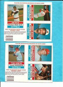 TWO - 1976 HOSTESS BASEBALL UNCUT BOX BOTTOMS  * NO STAINS *
