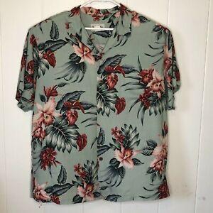 Bishop St Apparel Sz 2XL Rayon Green Hawaiian Button Up Collar Aloha Shirt F8