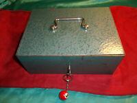 ~ alte Geldkassette Laden Kasse Schatulle Münzfach Schlüssel Metall blau 2,8 kg
