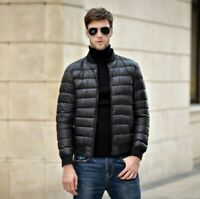 Winter Men's Duck Down Bomber Jacket Ligthtweight Coat Puffer Quilted Padded New