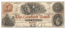 1860 SANFORD MAINE THE SANFORD BANK $5 FINE+ S-156-FREE USA SHIP-WOODCHOPPER