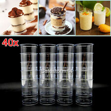 40PCS Mousse Cake Dessert Cups Canape Clear Plastic Jelly Goblet Party Wedding