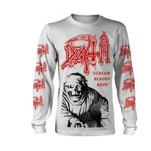 Death 'Scream Bloody Gore' Vintage White Slim Fit Long Sleeve T shirt - NEW