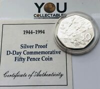 1994 Piedfort D-Day Landings 50p Fifty Pence Silver Proof Coin + COA & FREE P&P