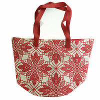 Women's Large White And Red Tote Bag New