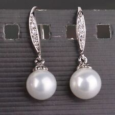 8-9mm perfect round white Australia south sea pearl dangle earring