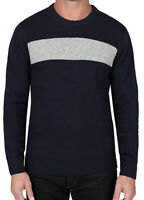 Slate And Stone Mens Knit Colorblock Wool Blend Sweater Navy Grey XXL