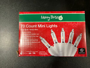 Merry Brite 70 count christmas mini lights clear bulb white wire 15 ft NEW