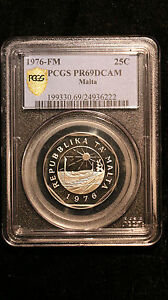 1976-FM Malta PCGS PR 69 DCAM 25 Cents