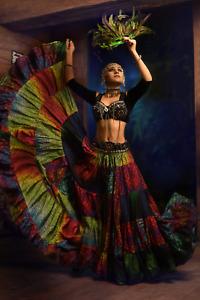 TRIBAL BELLY DANCE DIGITAL PRINTED Rainbow DESIGN SKIRT 100% COTTON (25 YARD)