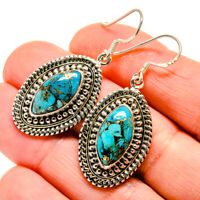 "Blue Copper Turquoise 925 Sterling Silver Earrings 1 3/4"" Jewelry E411522F"