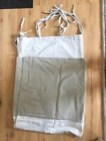 "1 Panel Canvas Curtain Olive Tan Neutral Tie Tops Two Tone 44"" wide 84"" length"