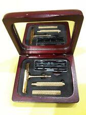 Vintage Shaving Travel Kit Set Wooden Box