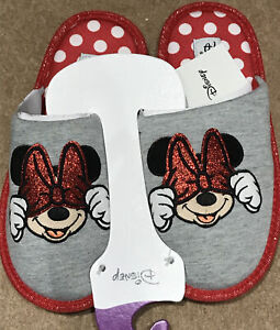 PRIMARK MINNIE MOUSE OFFICIAL DISNEY RED GREY SLIPPERS MULES 3-4
