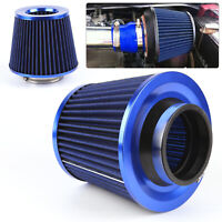 UK Universal Blue Finish Car Air Filter Induction High Power Sports Mesh Cone