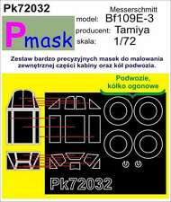 MESSERSCHMITT Bf-109 E-3 PAINTING MASK TO TAMIYA KIT #72032 1/72 PMASK
