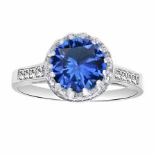 Sapphire Solitaire W/Accent Wedding Ring 14k White Gold Over Sterling Silver 925