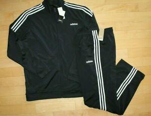 NWT ADIDAS Big & Tall Mens Logo Zip Up Track Jacket Pant Sweatsuit Black White