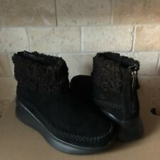 UGG MONTROSE BLACK SUEDE ZIP SNEAKERS SHOES ANKLE BOOTS SIZE 9 WOMENS