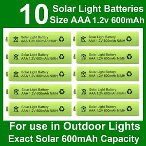 10 x AAA 1.2V 600mAh NiMH Rechargeable Batteries for Garden Solar Lights UK