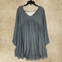 PLUS SIZE Charcoal TIERED RUFFLE BOHO Peasant BABYDOLL TOP TUNIC 3/4 sleeve 1Xl