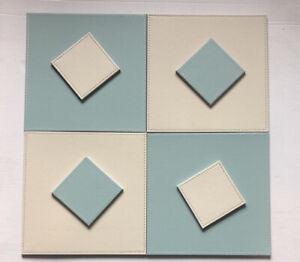 Reversible FAUX LEATHER Placemats & Coasters Set FLIP Mats SQUARE Stone DUCK EGG