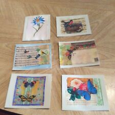 mixed media art note cards with envelopes flowers, birds and butterflies