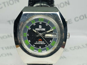 Vintage Ricoh Day Date Mechanical Automatic Movement Mens Wrist Watch WU402 A