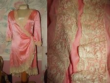 ANTIQUE VINTAGE Tambour Embroidered Net Lace LADIES LINGERIE ROBE  Salvage Trim