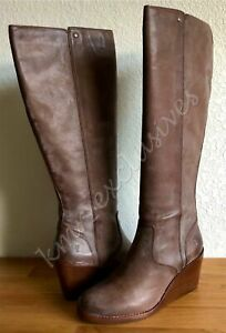 NIB Frye Emma Wedge Tall Knee Leather Boots in Gray (tan) Size: 8 M MSRP: $398