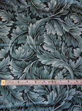 Kona Bay William Morris style Teal Leaves Cotton Fabric 1/4 yd 22.5 cm off bolt