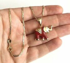 "18K GOLD FILLED RED ELEPHANT NECKLACE 18"" LONG / CADENA DE ELEFANTE 18"" - N38"