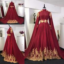 Arabic Muslim Long Sleeves Burgundy Wedding Dresses Gold Appliques Bridal Gowns