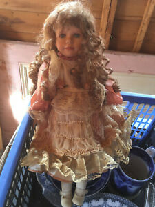 Vintage Bisque Porcelain Doll with cameo necklace ringlets & roses c 1960
