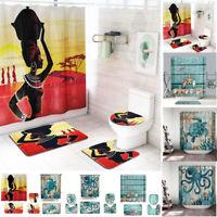 4Pcs/Set Bathroom Non-Slip Pedestal Rug+Lid Toilet Cover Bath Mat+Shower Curtain