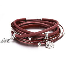 Fashion Women Multilayer Leather Magnet Wrap Cuff Charm Bracelet Jewelry Gift