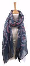 Womens Scarf Pashmina Wrap Shawl Grey Pink Retro Design Xmas Gift
