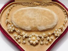 Fine Antique Edwardian 15ct Gold Seed Pearl set Floral Necklace c1905 In Case