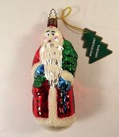 Whitehurst Santa Father Christmas Ornament Czech Blown Glass Hand Painted Tag