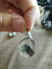 Natural Green Pyramid Ghost phantom Crystal Pendant Quartz 幽靈吊墜