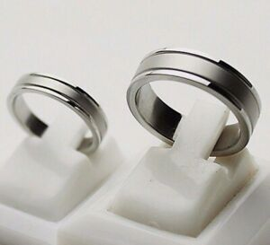 4mm 6mm Stainless Steel Mens Womens Wedding Band - Silver Ring Sizes I to Y