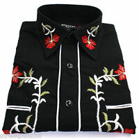 Relco Black Red Green Cowboy Western Line Dancing Flower Embroidered Shirt NEW