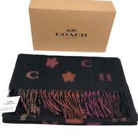 Coach Authentic 100% Wool Fringed Logo Stars Scarf Black Pink NWT W/ Box $178