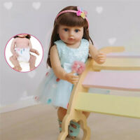 "22"" Reborn Toddler Girl Doll Real Soft Touch Full Body Silicone Rooted Hair Doll"