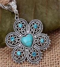 Vintage Womens Chain Statement Turquois Blue Pendant Choker Bib Necklace Jewelry