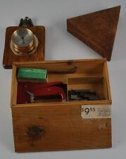 Lot Of Collectible Wooden Barometer Heavy Swingline Staple Box Carved Triangle