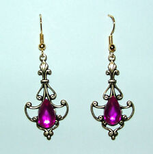 ART NOUVEAU STYLE EARRINGS HOT PINK PURPLE ACRYLIC TEARDROP DRK GOLD PLATED HOOK